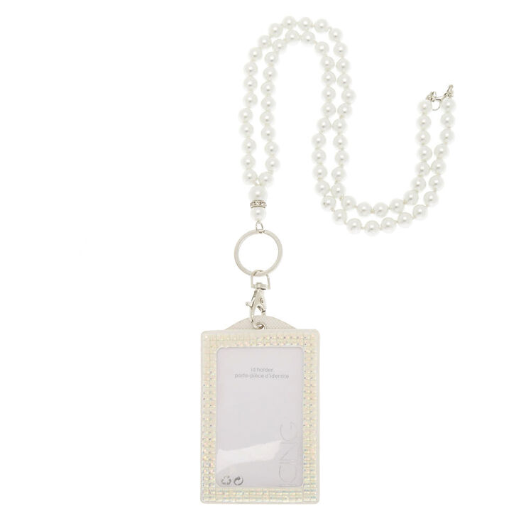 White ID Holder with Faux Pearl Lanyard,