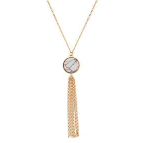 Gold Marble Long Pendant Necklace - White,