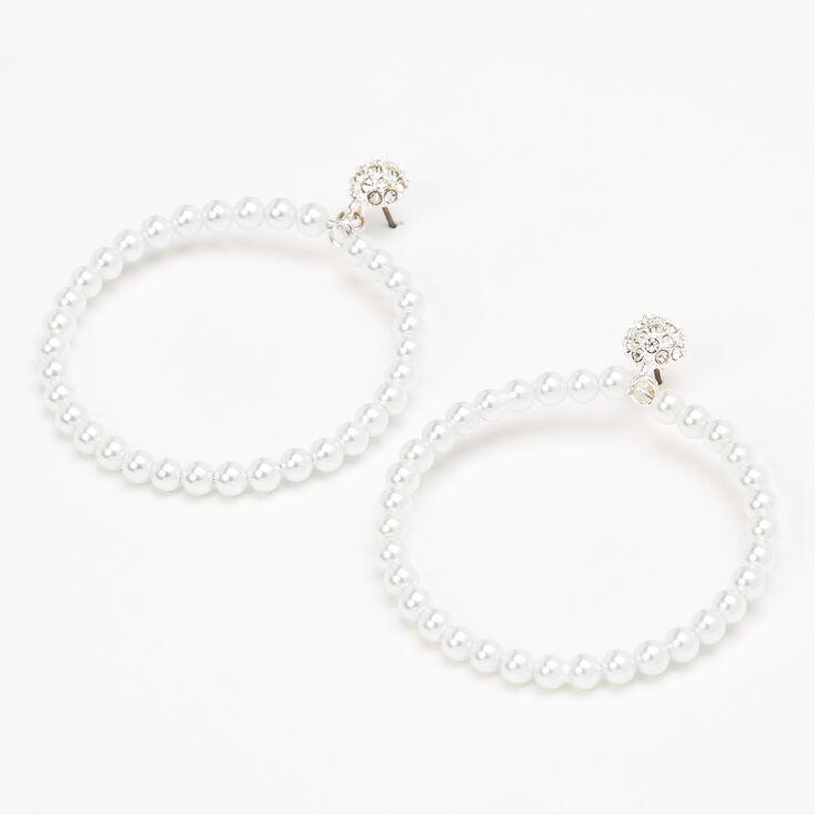 Pearl Hoop 50mm Drop Earrings,