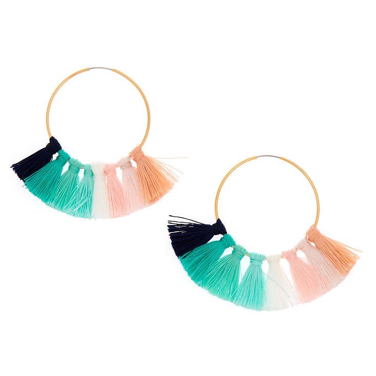 40MM Tassel Hoop Earrings - Green,