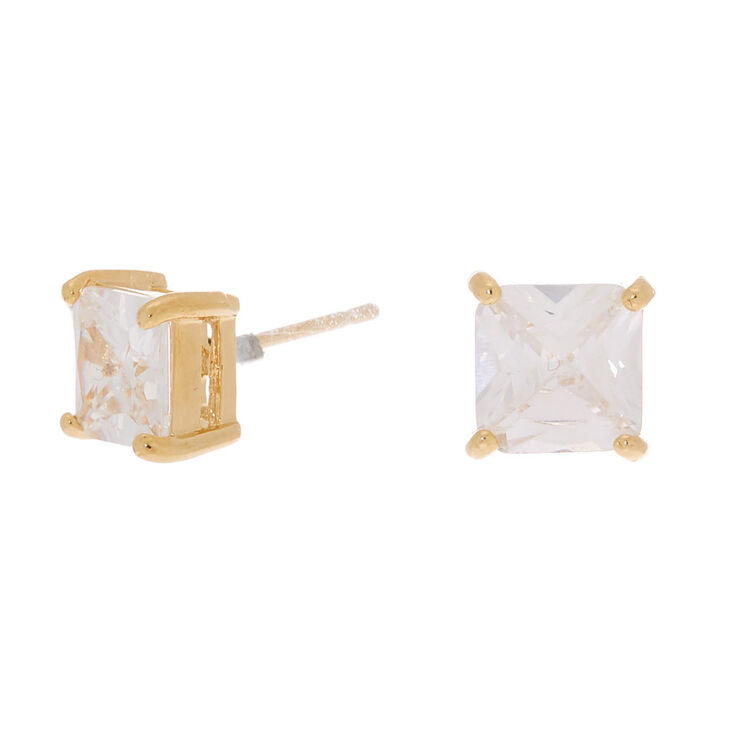 18kt Gold Plated Cubic Zirconia Square Stud Earrings,