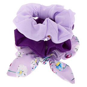 Floral Bow Hair Scrunchies - Lilac, 3 Pack,