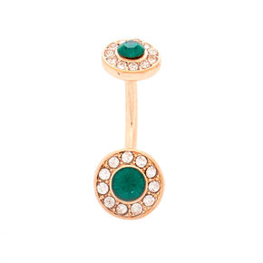 Rose Gold 14G Emerald Stone Belly Ring,