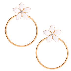 """Gold 2"""" Daisy Flower Drop Earrings - White,"""