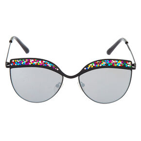Cat Eye Rainbow Glitter Sunglasses - Black,