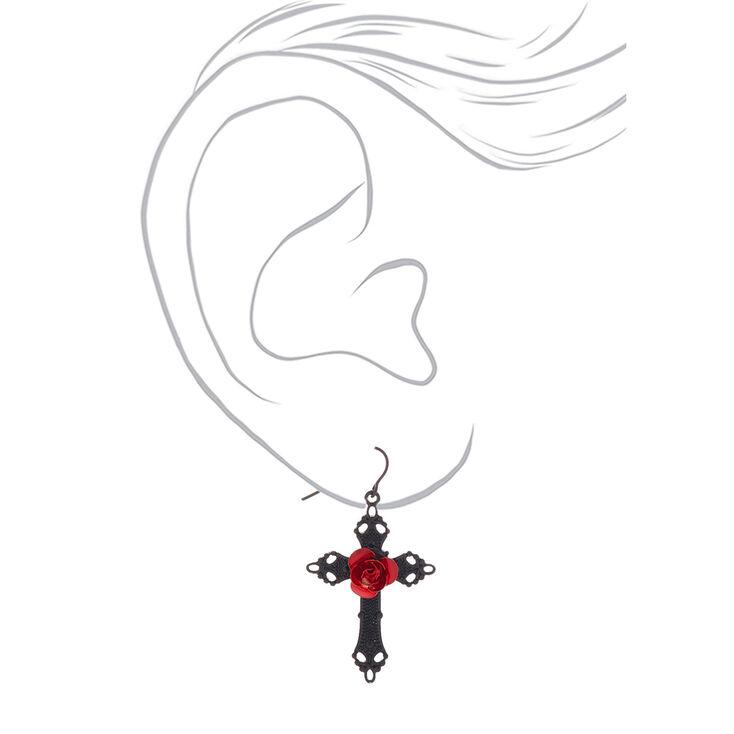 """Black 2"""" Cross Drop Earrings,"""