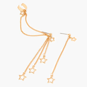 "Gold 3"" Star Linear Ear Cuff Drop Earrings,"