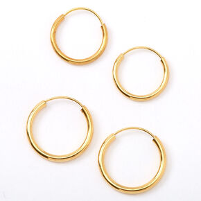 18kt Gold Plated Graduated Hoop Earrings - 2 Pack,
