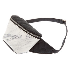Quilted Marble Fanny Pack - Black,