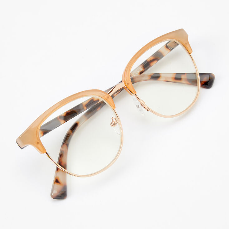 Tan Browline Tortoiseshell Cat Eye Clear Lens Frames,