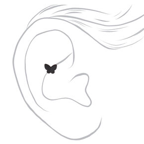 Black and Silver Butterfly Cartilage Stud Earrings - 3 Pack,