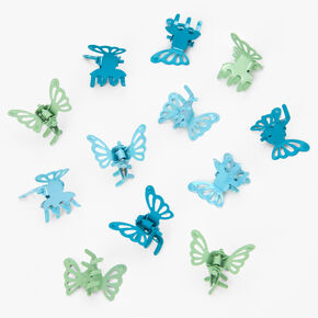 Blue & Green Mini Butterfly Hair Claws - 12 Pack,
