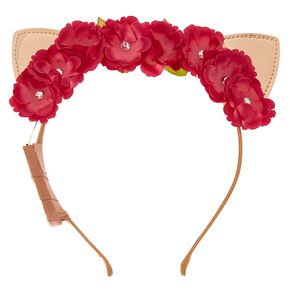 Rose Gold Cat Ears Flower Crown Headband,