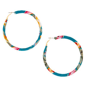 50MM Fabric Wrapped Floral Hoop Earrings - Teal,