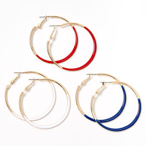 Gold Red, White & Blue Accented Hoop Earrings - 3 Pack,