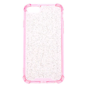 Clear Pink Glitter Protective Phone Case - Fits iPhone 6/7/8,