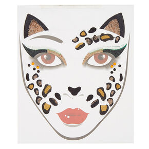 Leopard Cat Face Tattoos - Black,