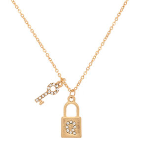 Gold Lock & Key Initial Pendant Necklace - Q,