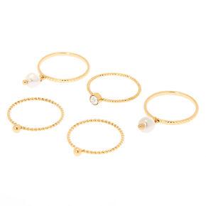 Gold Embellishment Rings - 5 Pack,