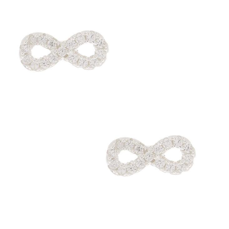 Sterling Silver Cubic Zirconia Infinity Stud Earrings,