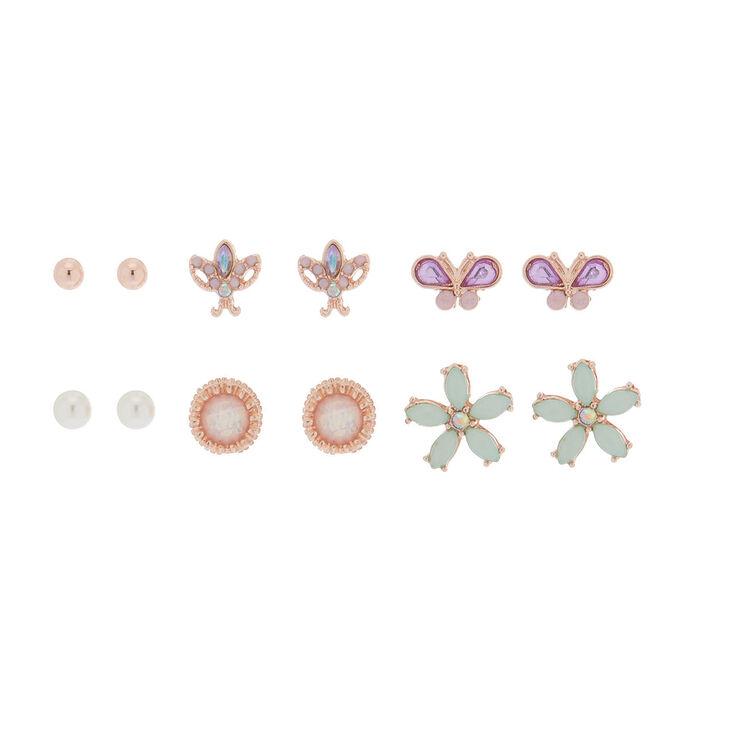 Rose Gold Pastel Stud Earrings - 6 Pack,