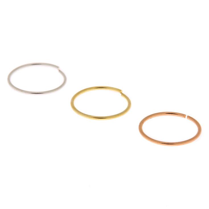 Sterling Silver Mixed Metal 22G Cartilage Hoop Earrings - 3 Pack,