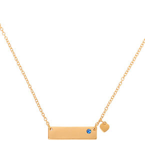 Gold September Birthstone Bar Pendant Necklace - Sapphire,