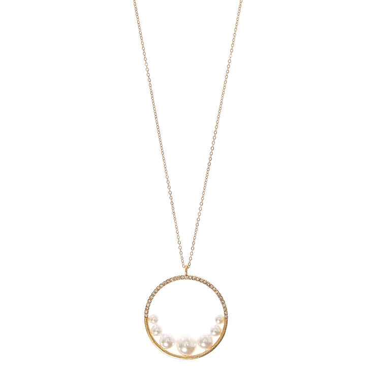 Faux Pearl & Crystal Circle Pendant Necklace,