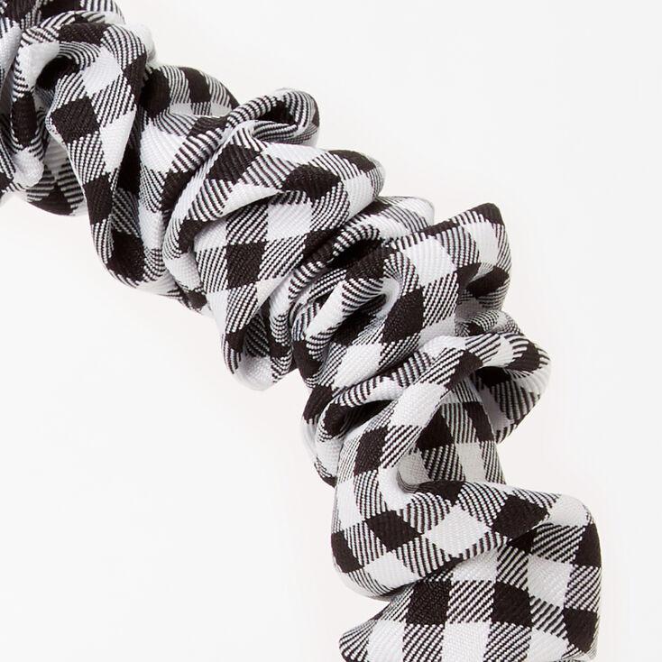 Ruffled Gingham Headband - Black & White,