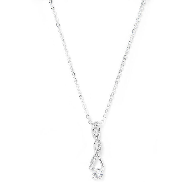 Twisted Cubic Zirconia Solitaire Pendant Necklace,