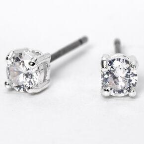 Silver Cubic Zirconia 4MM Parallel Setting Stud Earrings,