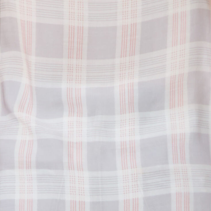 Sheer Gray & Pink Plaid Shawl,