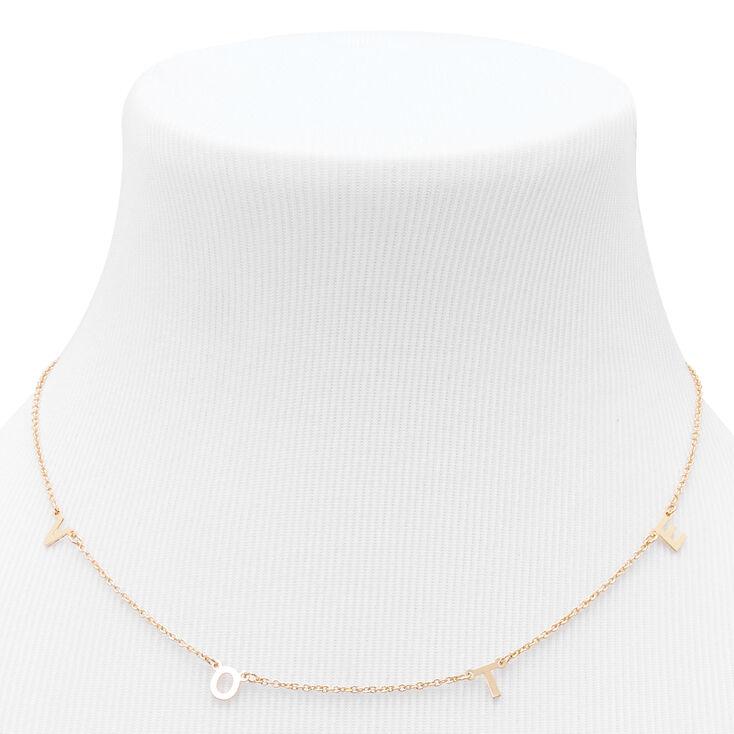 Gold Vote Pendant Necklace,