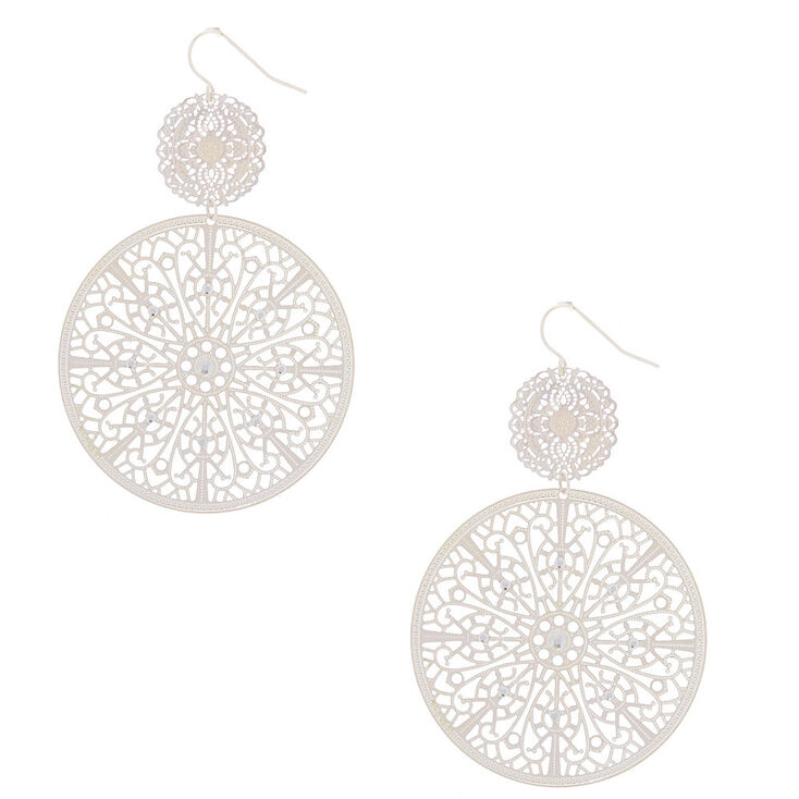 "Silver 3"" Circle Filigree Double Drop Earrings,"