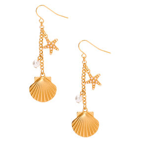 "Gold 2"" Shell Drop Earrings,"