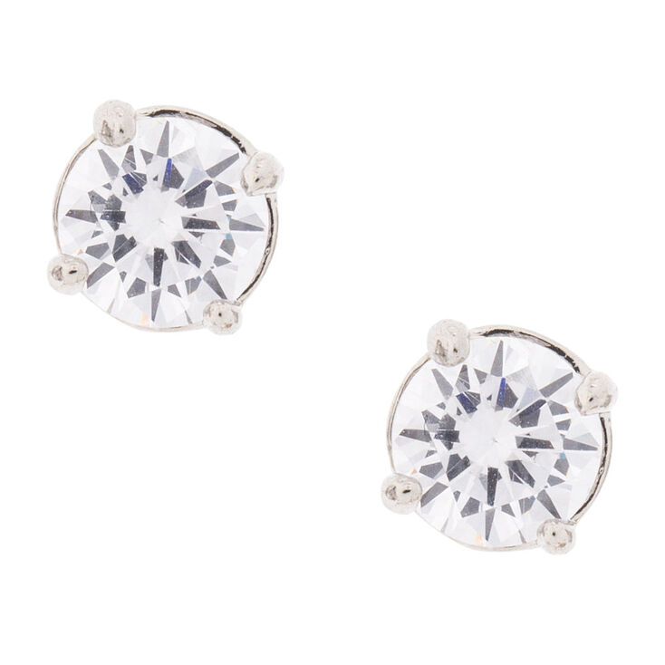 6MM Round Cubic Zirconia Stud Earrings,