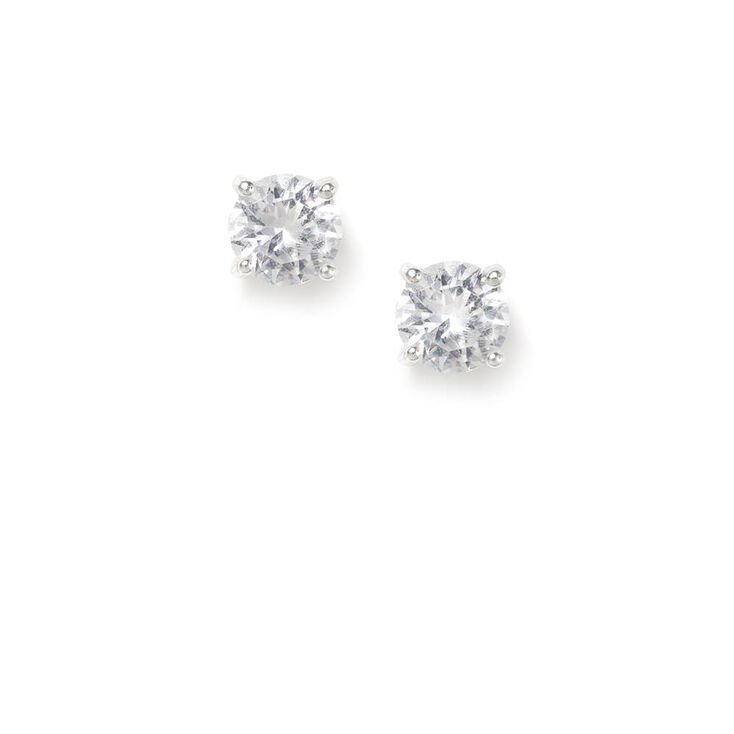 6MM Cubic Zirconia Round Cut Spike Set Stud Earrings,