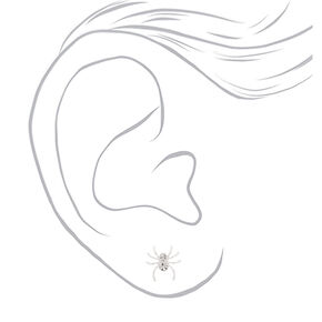Silver Crystal Spider Stud Earrings,