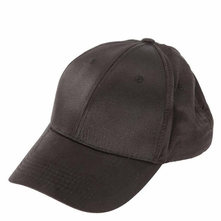 Black Satin Baseball Cap,