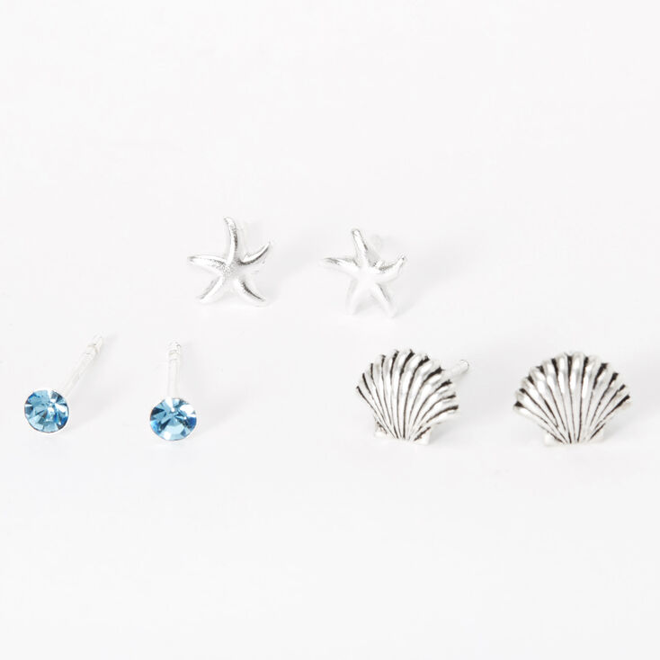 Sterling Silver Seashell Starfish Stud Earrings - Blue, 3 Pack,