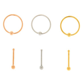 Mixed Metal 20G Nose Studs & Rings Set - 6 Pack,