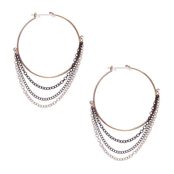 Black & Gold Chain Fringe Hoop Earrings,