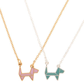Mixed Metal Origami Dog Pendant Necklaces - 2 Pack,