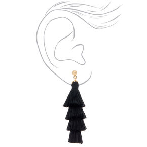 "Tiered Tassel 2.5"" Drop Earrings - Black,"