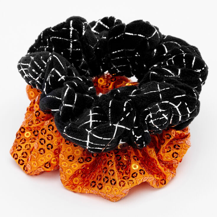 Small Orange Sequin & Black Web Hair Scrunchies - 2 Pack,