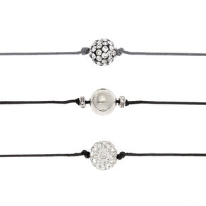 Silver Fireball Choker Necklaces - Black, 3 Pack,