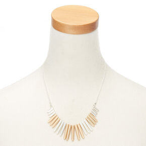 Mixed Metal Bar Statement Necklace,