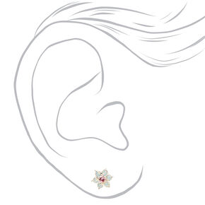 Flowers and Crystals Assorted Stud Earrings - 9 Pack,