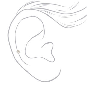 8MM 16G Silver Curve Barbell Rook Earring,
