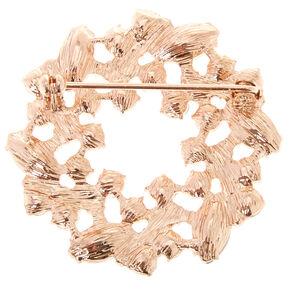 Gold Tone & Faux Crystal Wreath Brooch Pin,